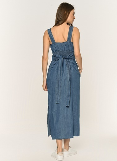 Loves You Beli Lastikli Askılı Midi Denim Elbise Mavi